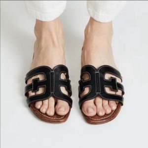 Sam Edelman Bay Cutout Slide Black Sandal 7 NWT